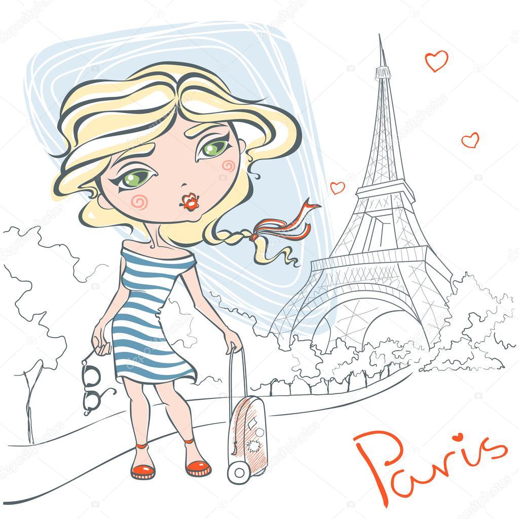 Linda chica con una maleta en el fondo de la Torre Eiffel — Archivo ...