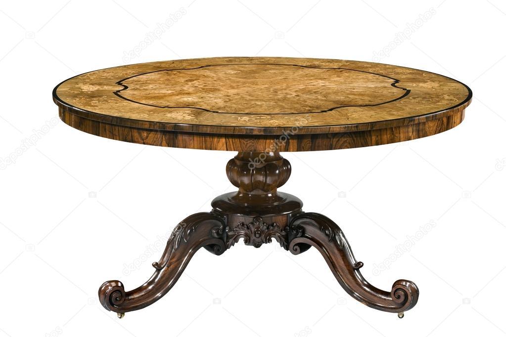 Tavolo rotondo antico piedistallo della bava piano in legno con ...