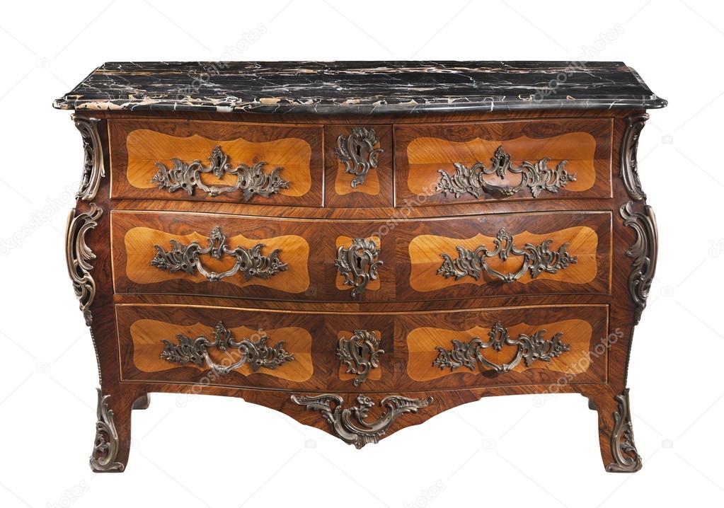 Classique ancien original vintage marbre coffre en bois haut