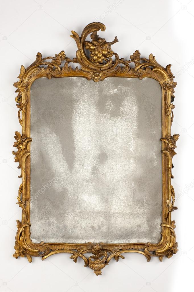Antiguo tallado espejo de pared dorado con cristal - Espejos antiguos de pared ...