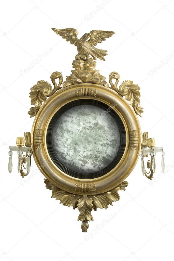Antike Runde Hall der Spiegel mit alten Spiegelglas — Stockfoto ...