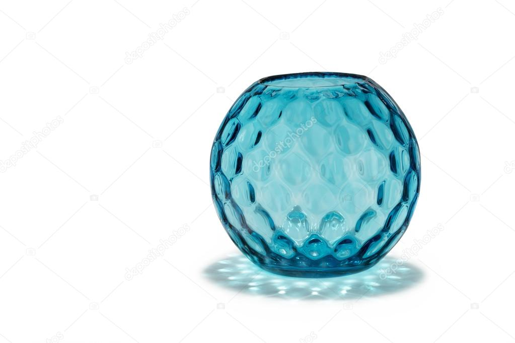 Antique Glass Vase Round And Patterned Dimple Effect Stock Photo