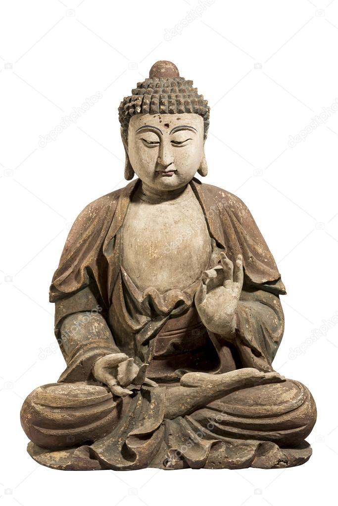 antik geschnitzt und bemalt aus holz buddha isoliert auf weiss foto von jak30