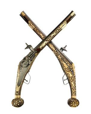 Pistols pair original antique wheelock and flint pistols