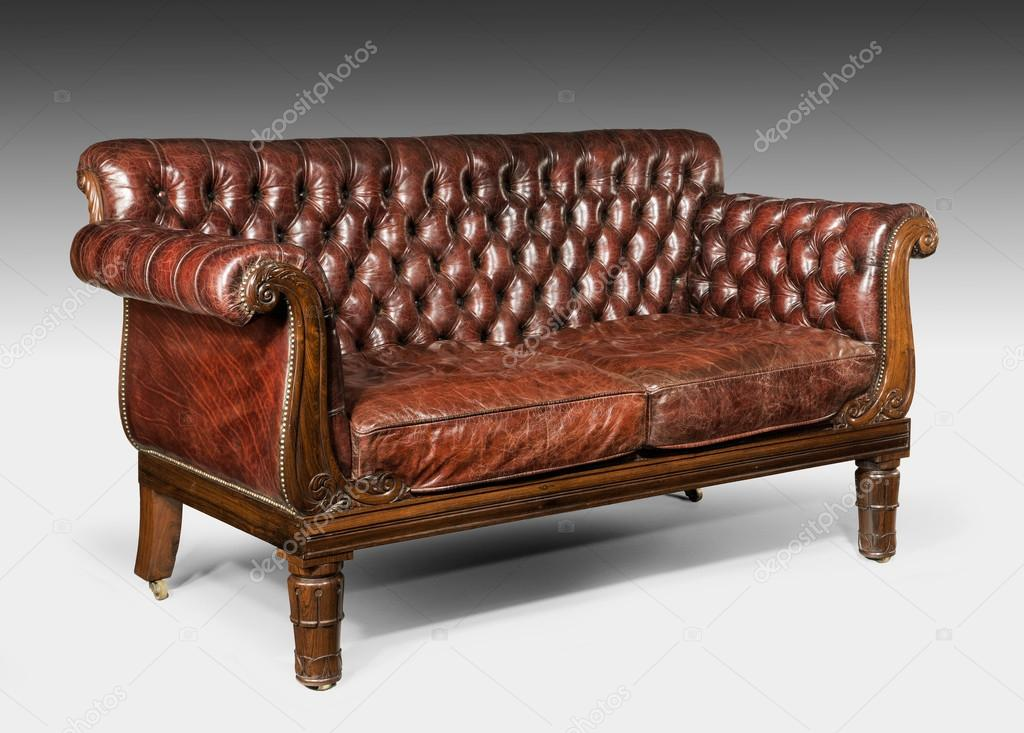 Antique vieux vintage marron en cuir clout canap canap - Canape cuir matelasse ...