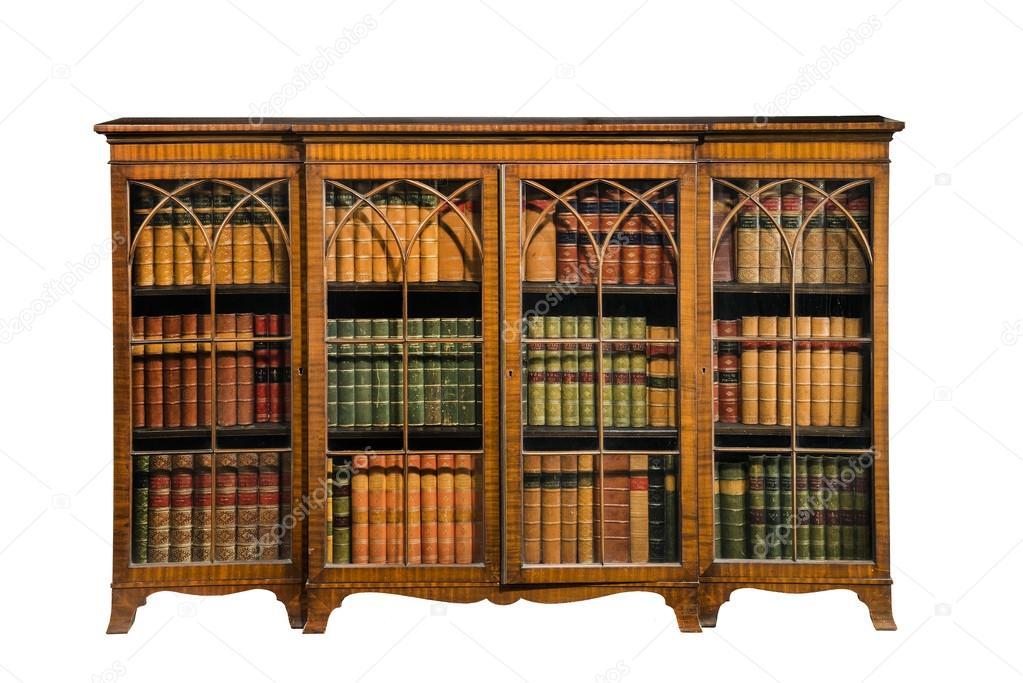 boekenkast kabinet antieke vintage met glazen deuren geïsoleerd op ...