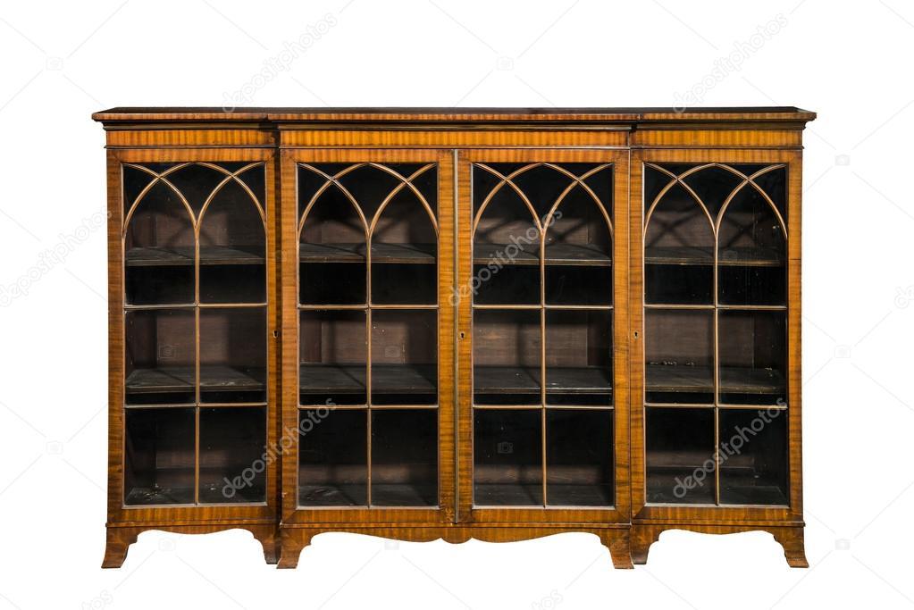 Boekenkast kabinet antieke vintage met glazen deuren geïsoleerd