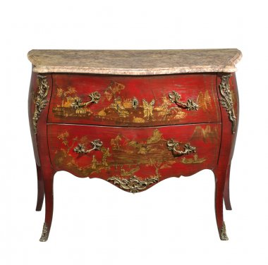 old original japaned vintage wooden chest of drawers isolated