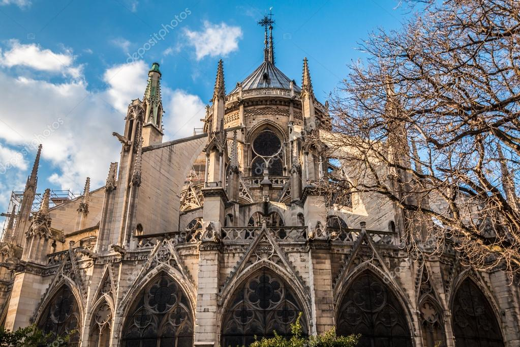 Back View Of Notre Dame Cathedral In Paris Stock Photo Image By Pocholocalapre Yahoo Com 104325958