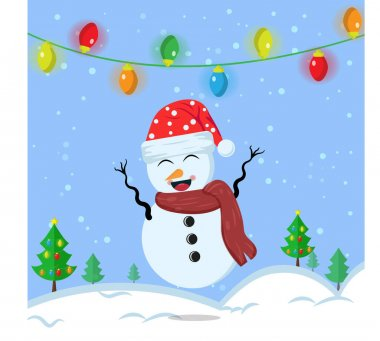 Illustration vector graphic of the cute snowman using santa claus hat and red scarf. Blue background. Good for Christmas icons, Christmas stickers, Christmas book covers. icon