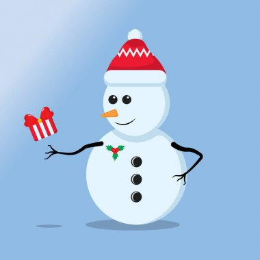 Illustration vector graphic of a cute snowman getting a gift . Blue background. Perfect for Christmas icons, Christmas stickers, Christmas book covers. icon