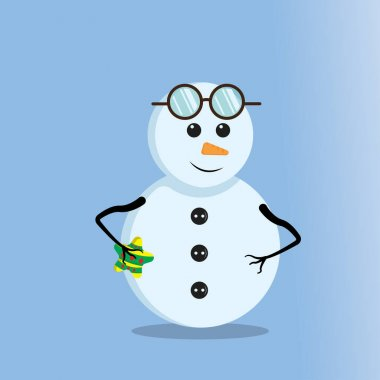 Illustration vector graphic of cute snowman wearing glasses. Blue background. Good for Christmas icons, Christmas stickers, Christmas book covers. icon