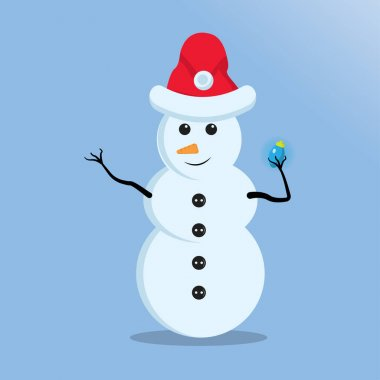 Illustration vector graphic of the cute snowman using santa claus hat holding christmas light. Blue background. Good for Christmas icons, Christmas stickers, Christmas book covers. icon
