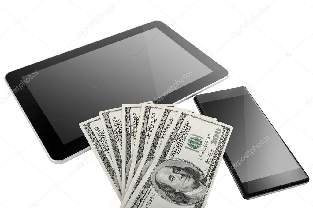 Digital Tablet and mobile phone with US Dollars