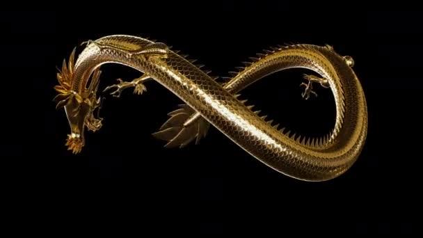 Animovaný tradiční zlatý východoasijský symbol draka v nekonečnu stylový pohyb