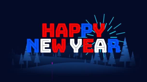 Set von 3 illustrierten Neujahrsanimationen 2021 mit Feuerwerk