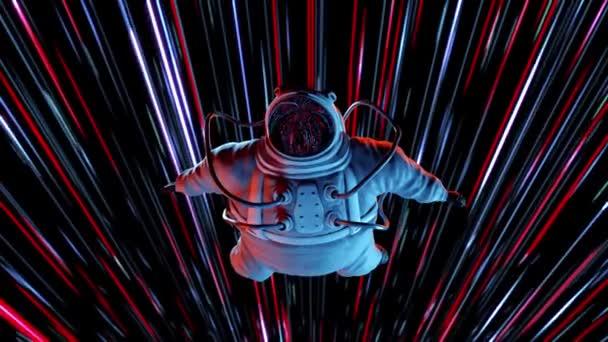 Epický člověk kosmonaut ve skafandru rozhlížející se v zázračných hvězdách