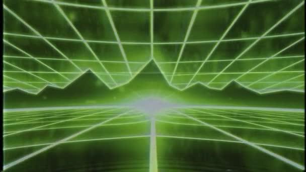 Retro 80s VHS páska video hra intro krajina vektor arkádový drátový rám