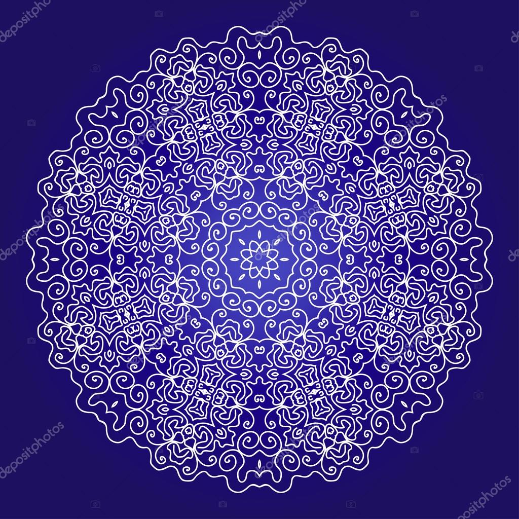 lace ornament on a blue background