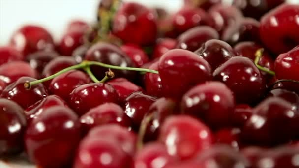 Lot of sour cherries on white background.