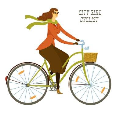 City girl cyclist vector illustration