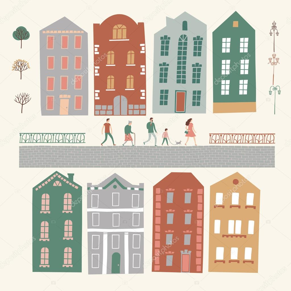 Constructor de la ciudad con casas personas rboles - Constructor de casas ...