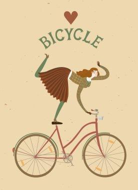 Elegant woman cyclist old style cartoon illustration