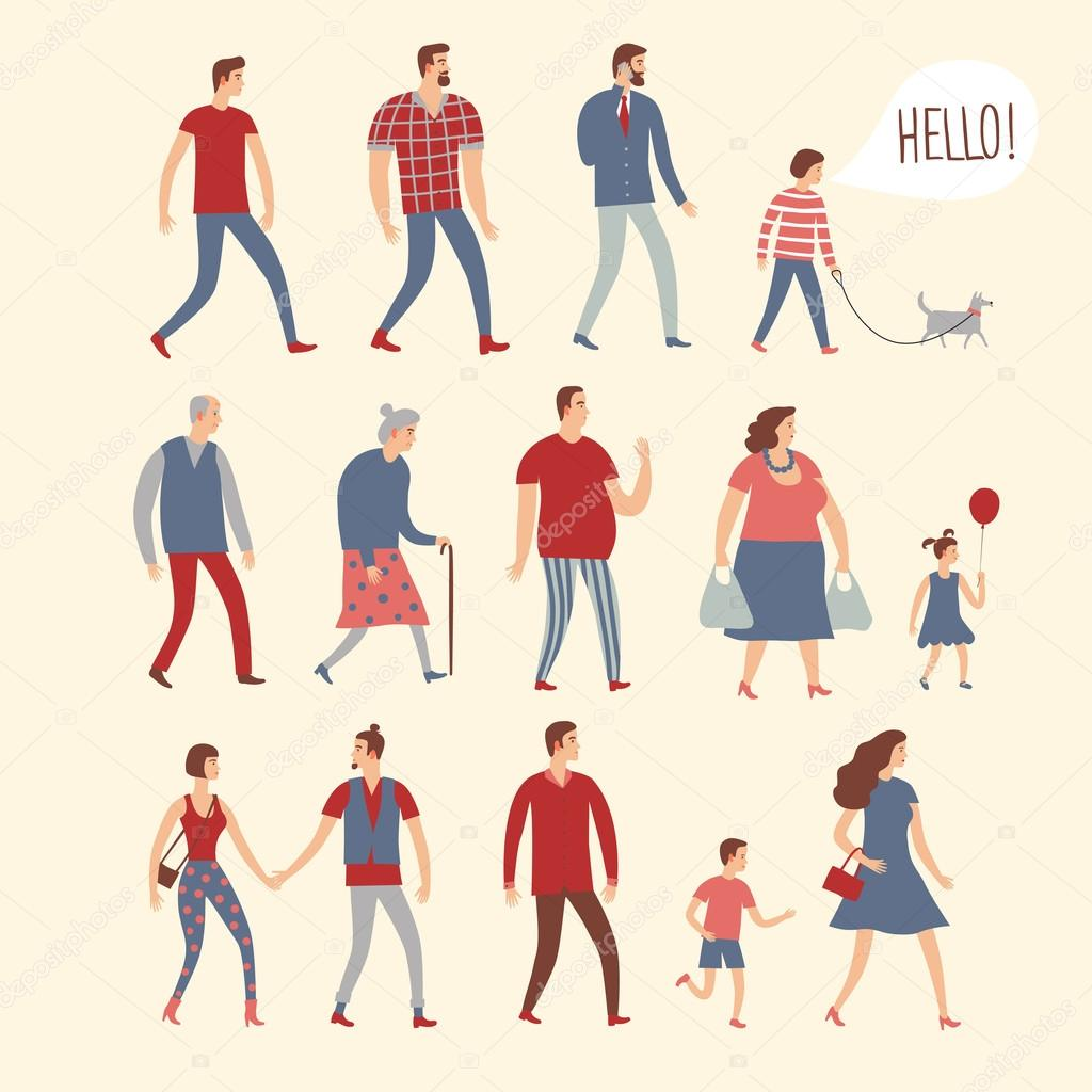 Set of cartoon people in various lifestyles and ages