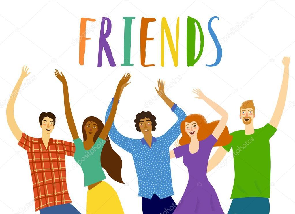 Dibujos Grupo De Amigos Dibujo Amigos Felices Juntos Vector De