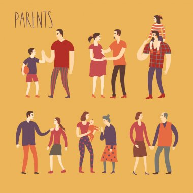Set of cartoon parents and children