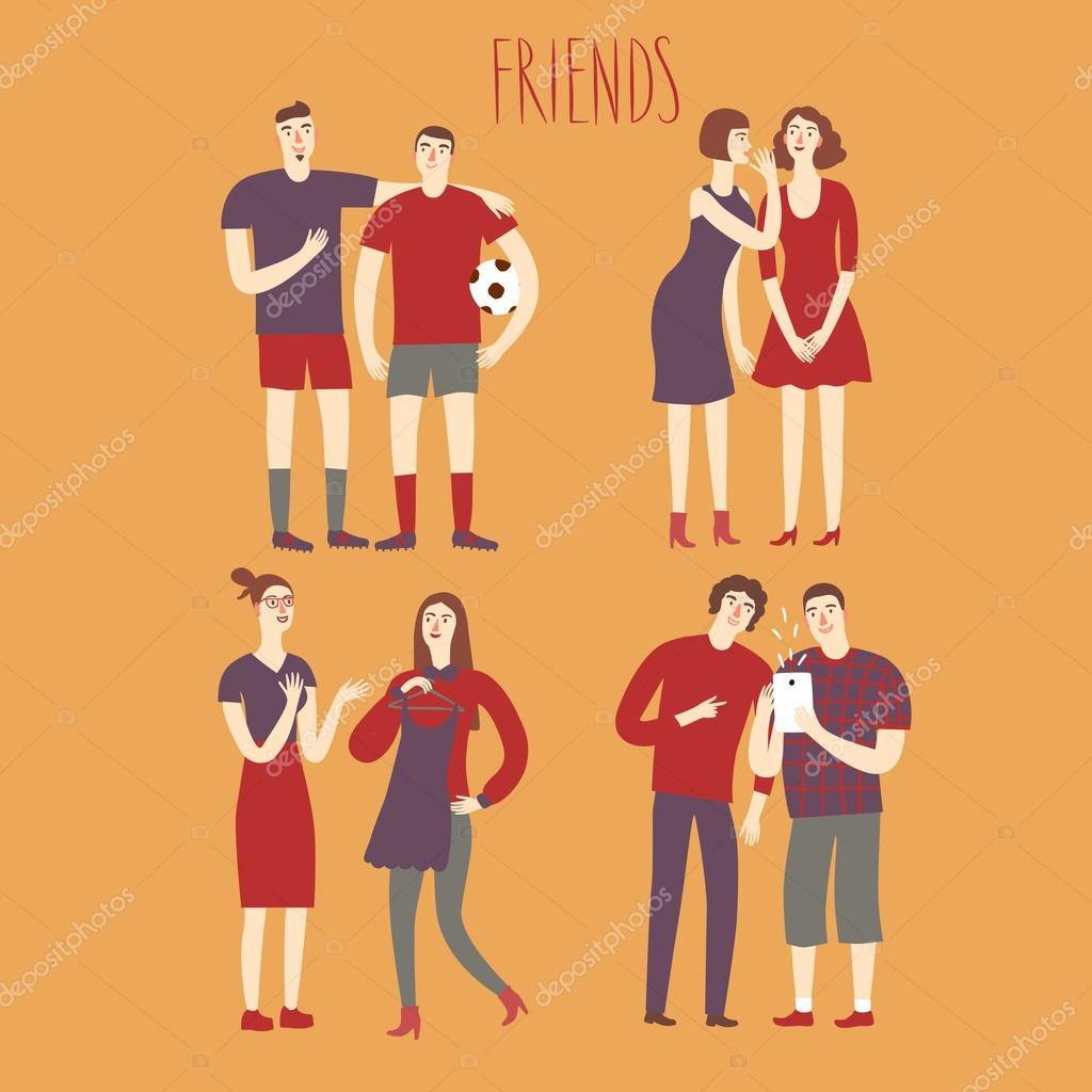 Set cartoon jongens en meisjes vrienden in verschillende levensstijlen stockvector shtonado - Set van jongens en meisjes ...