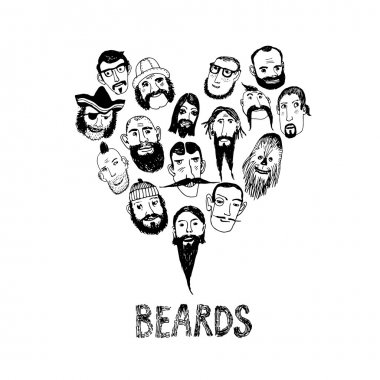 Funny beards illustration