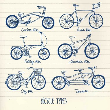 Hand drawn bicycle set
