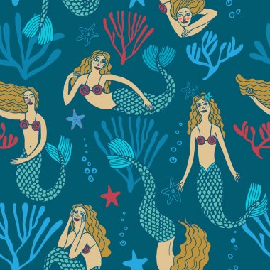 Seamless pattern with mermaids