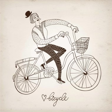 Retro girl cyclist