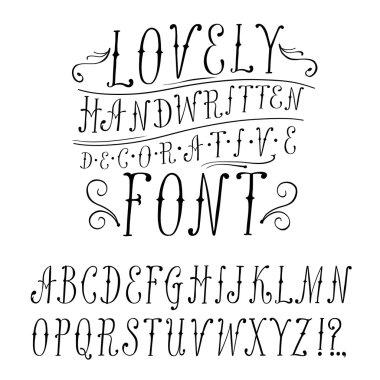 Vintage  doodle vector font