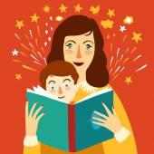 Fényképek Anya olvasó egy könyv a gyermek illusztráció
