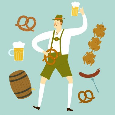 cartoon Bavarian man with beer and food