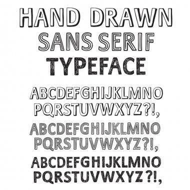 Hand drawn vector fonts set