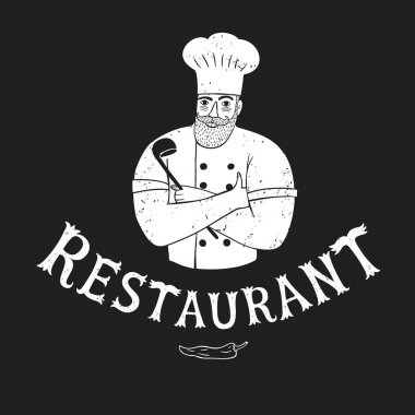 Hand drawn happy chief with restaurant logo