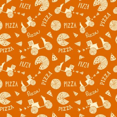 Hand drawn pizza seamless background