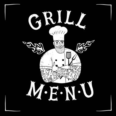 Hand drawn migty chief with restaurant logo