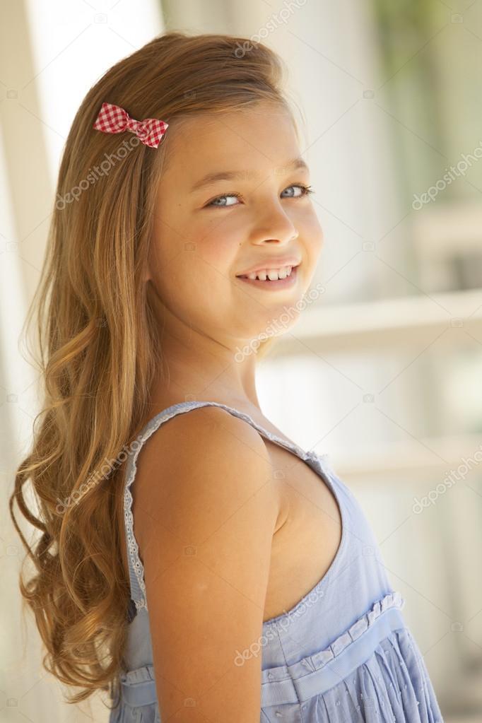 Blonde blue eyes little girl — Stock Photo © Brainsil ...