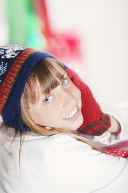 teen girl with christmas present