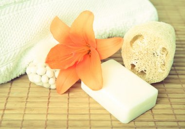 flower, soap and towel