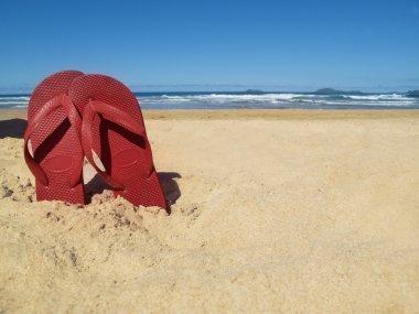 flip-flops in sand on beach