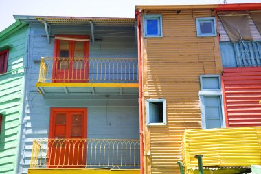 colorful buildings with  balconies