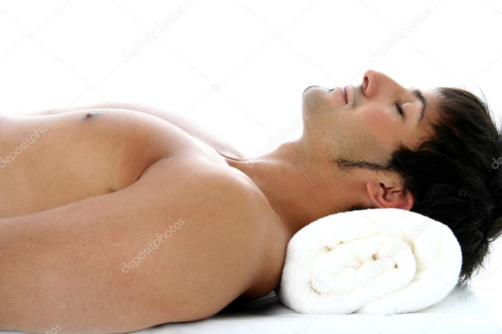 man lying with closed eyes