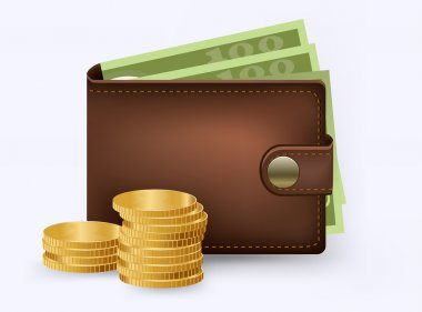 Vector leather wallet with money and coins inside