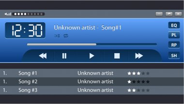 Vector bright audio player skin with navigation bar